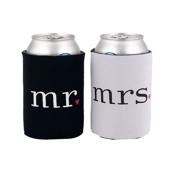 Mr. and Mrs. Can Coolers, Black/White ($9.99) ❤ liked on Polyvore featuring home, kitchen & dining, food storage containers, black lunch box, drink cooler, black and white lunch box, hortense b. hewitt and picnic cooler