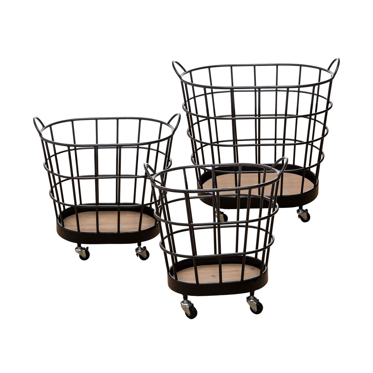 Foreside Home Garden Rolling Wire Baskets On Wheels Set Of 3 In 2020 Wire Baskets Basket Metal Baskets
