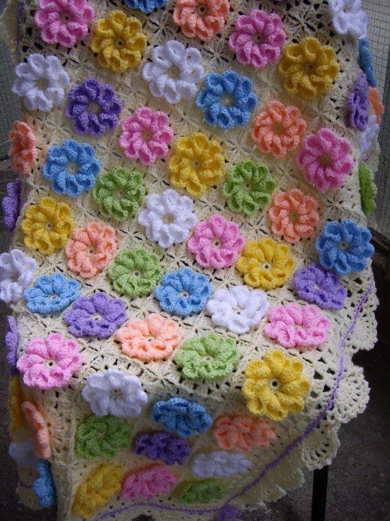 Granny Square Crochet Blanket...Baby Crib Blanket...Colorful Knitting Patchwork Baby Afghan... via Etsy