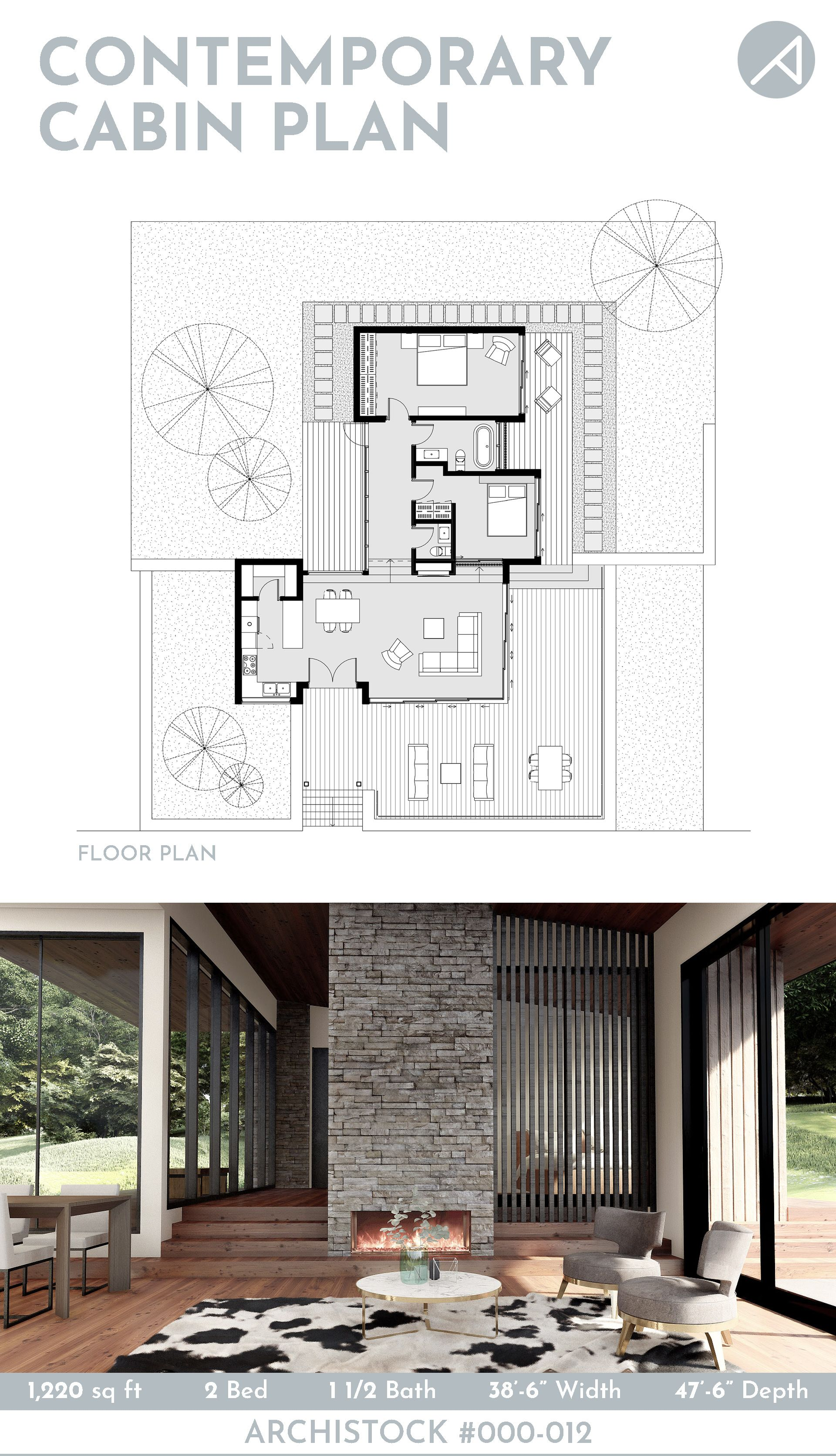1,220 sq ft Contemporary Cabin House Plan, 1-story, 2 bedrooms, 1.5 baths, open concept living dining area. Perfect for a vacation home or a guest house project. For more info about the design, to see the floor plan, elevations, and other renderings, please visit our website. #smallhouseplans #cabin #cabinplans