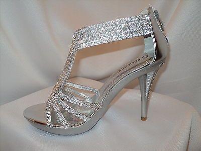 women's silver strappy prom wedding dress sandal heel shoe