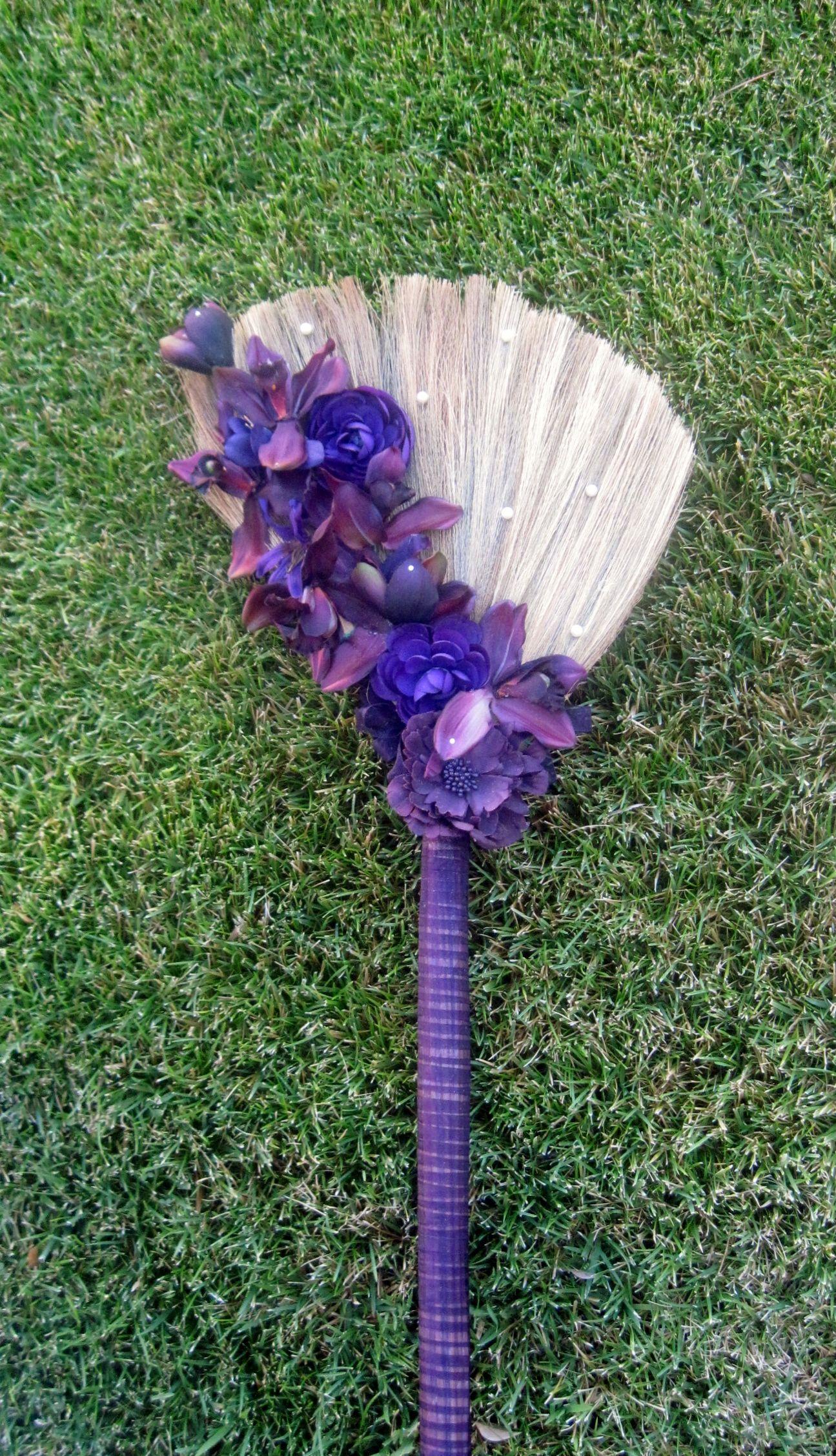 wedding brooms Purple wedding jumping broom Marayahscreations