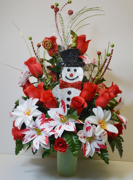 Cc022 Holiday Christmas Silk Flower Cemetery Cone Vase