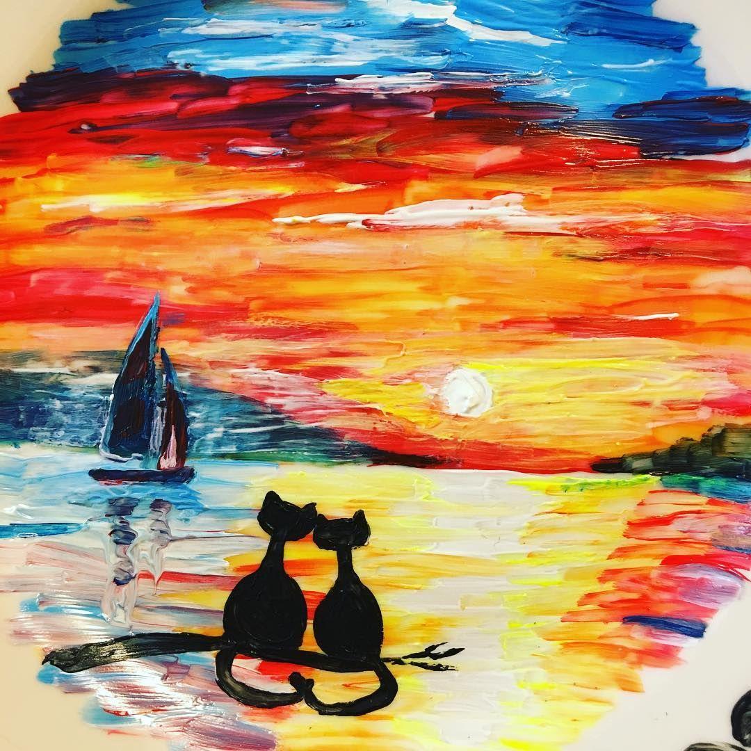 оформляем рисунки легкие котики красками сделать