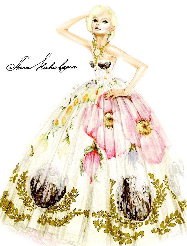 "Vahan  Khachatryan dress from collection ""Jardin Rococo"" spring-summer 2014 www.vahan.it"