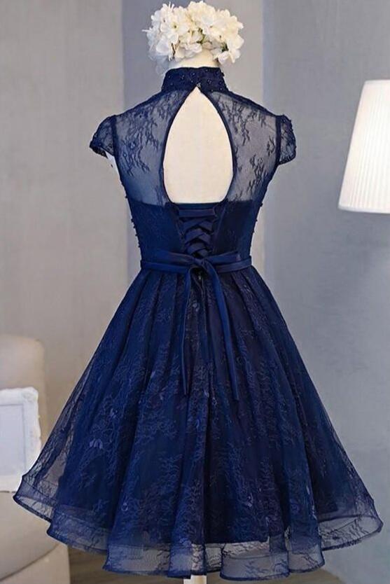 Beautiful Navy Blue Knee Length Lace Party Dress, Homecoming Dress #navyblueshortdress