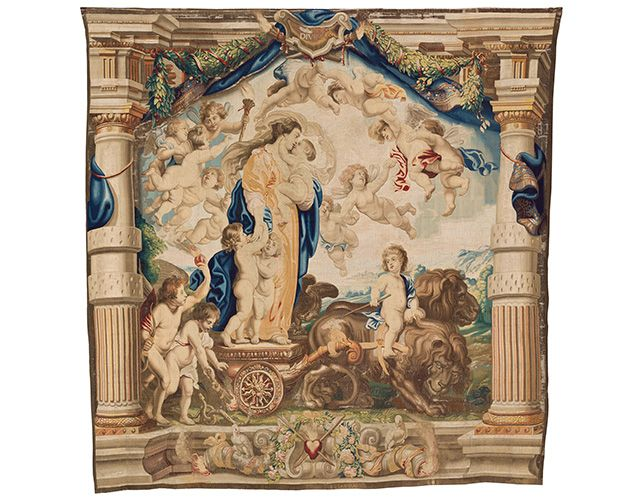 The Triumph of Divine Love, about 1626-33, woven in Brussels by Jan Raes I, Hans Vervoert, and Jacob Fobert after designs by Peter Paul Rubens, wool and silk. Image courtesy of and © Patrimonio Nacional, Monasterio de las Descalzas Reales, Madrid