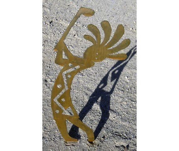 Metal Kokopelli Golf Drive Tee Statue Brown Rust Southwest Art Lawn Garden  Large 35 Inch
