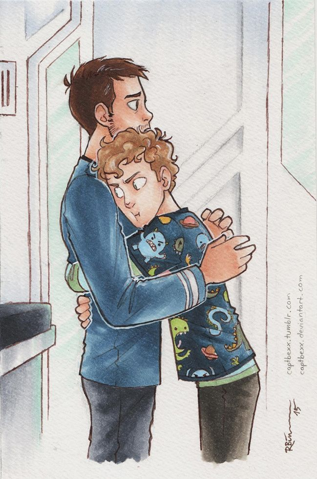 """captbexx: """" McCoy and Chekov I love drawing these two hugging, even"""