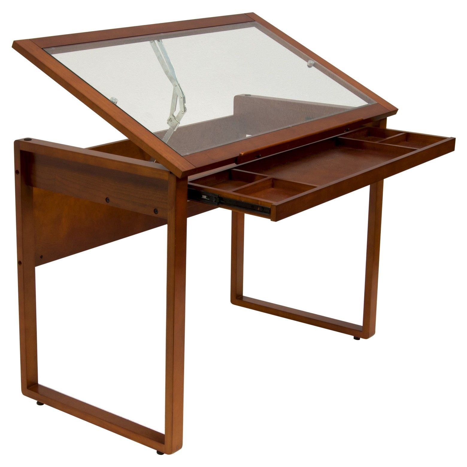 Canvas Color Wood Drawing Table With Glass Top Sonoma Brown Studio Designs Glass Top Table Drawing Table Drafting Table