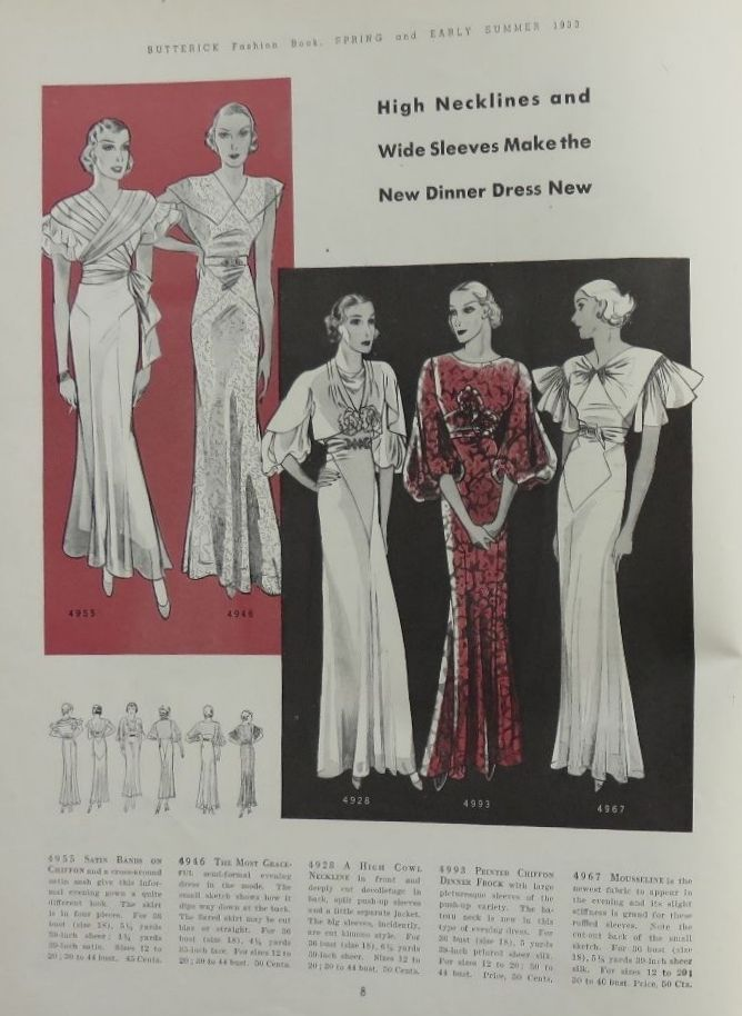 Butterick Fashion Book, Spring & Early Summer 1933 featuring Butterick 4955, 4946, 1928, 4993 and 4967
