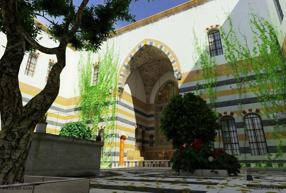 رسومات بيت دمشقي قديم House Elevation Alhambra Decor