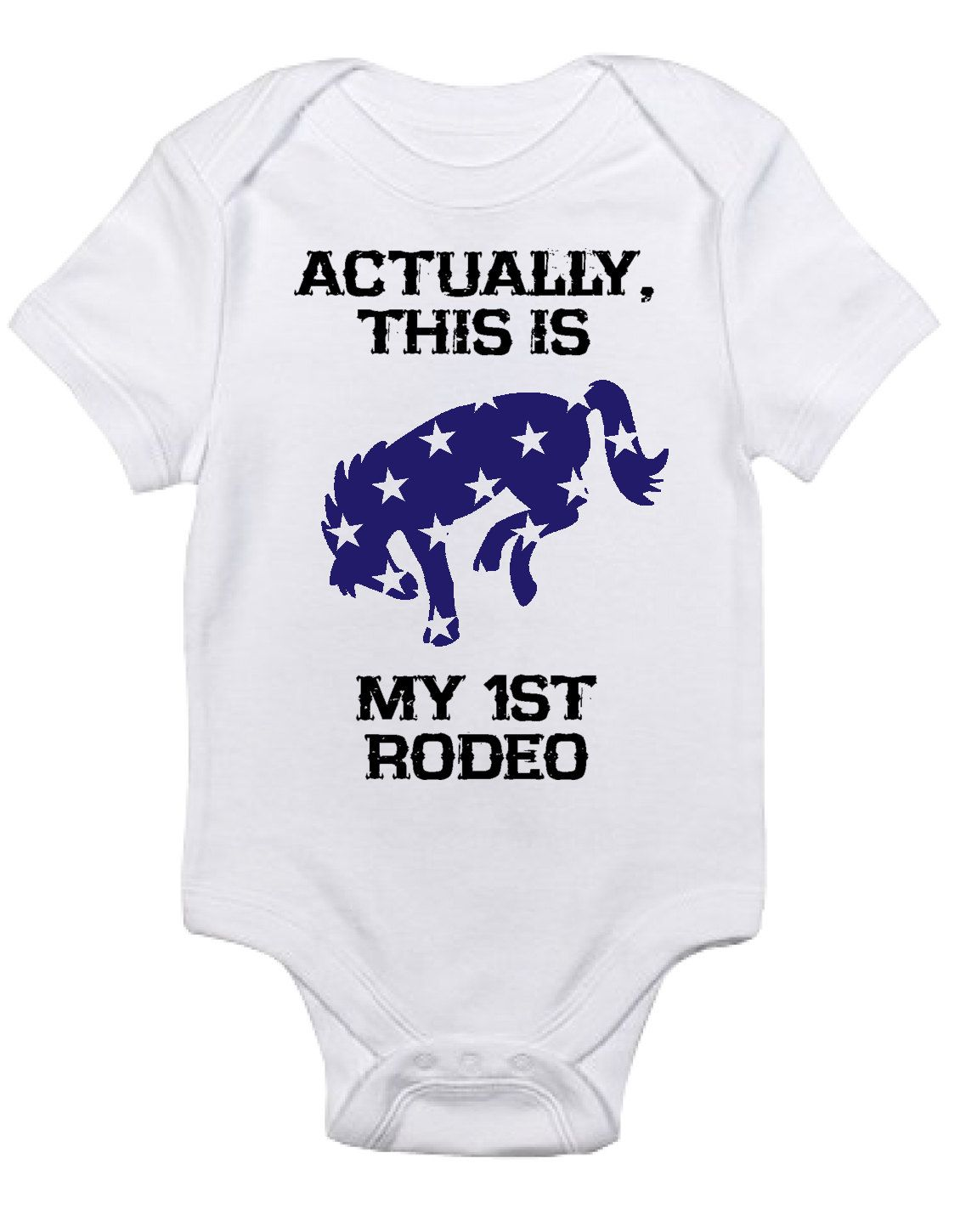 111204547 Baby Boy/Girl Horse Onesie, My First Rodeo One Piece Bodysuit, Equestrian  Clothes Western Country Newborn Gift Riding Pony Bronco Blue Stars