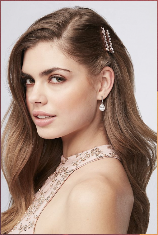 Add a touch of blush to your up-do with these crystal-embellished rose gold bobb... #Add #touch #blush #your #up-do #with #these #crystal-embellished #rose #gold #bobb...