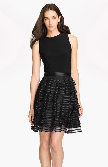 Tiered Skirt Mixed Media Dress