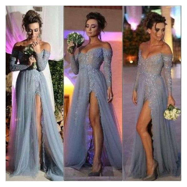 506f3b5ca0dd Long sleeve off shoulder tulle and lace long prom dress with side slit... ❤  liked on Polyvore featuring dresses