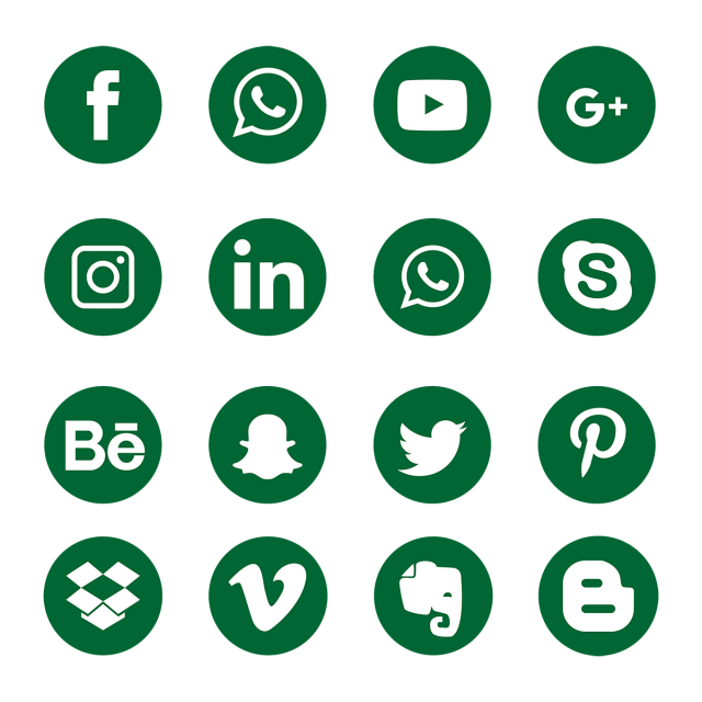 Green Social Media Icons, Social, Media, Icon PNG and