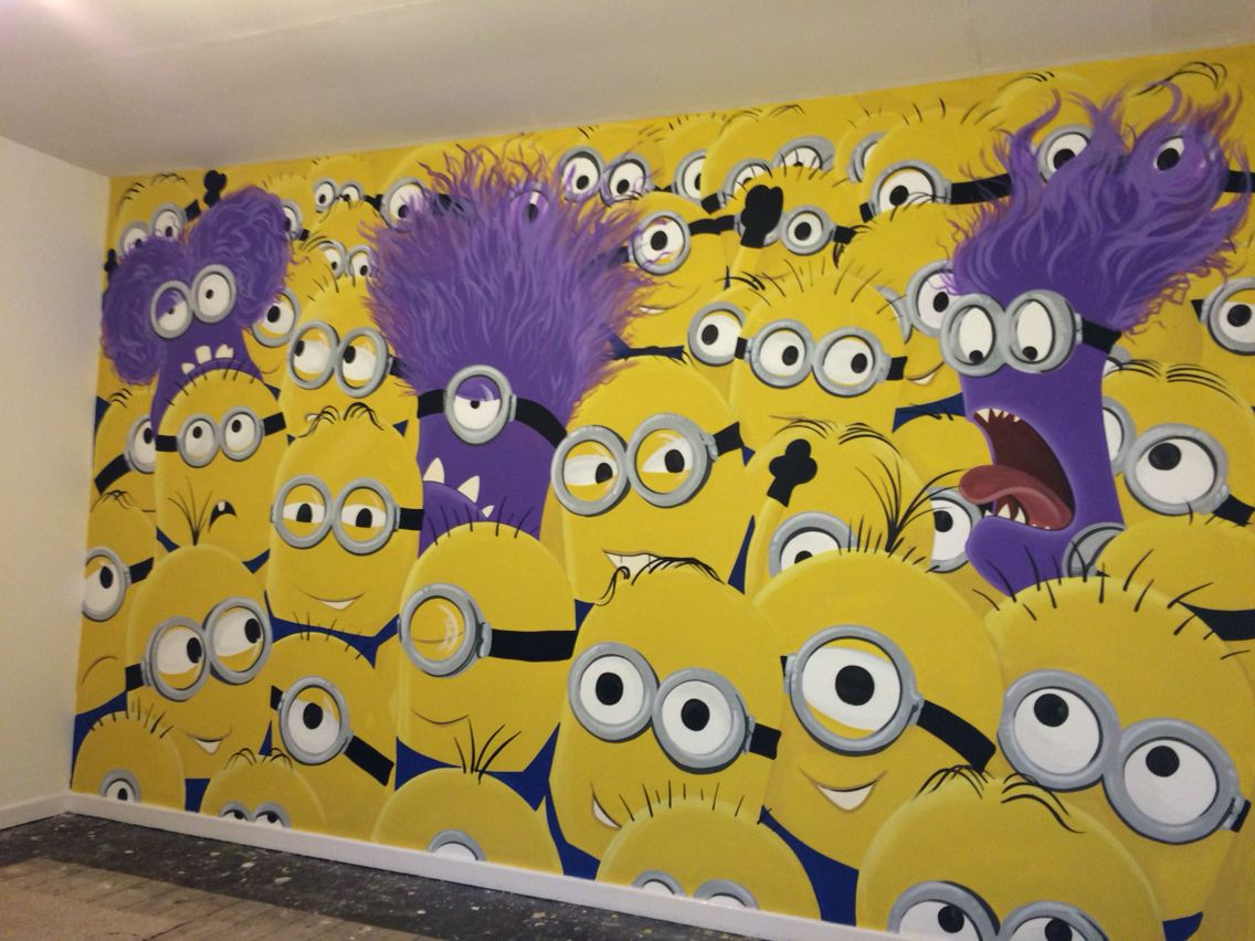 Minions painted wall mural | Murals | Pinterest | Minion painting ...