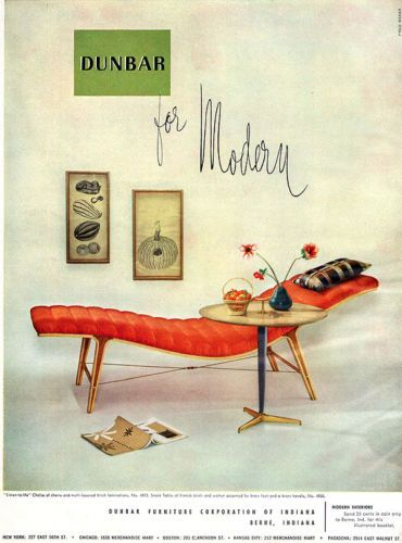 Modern Furniture Ads dunbar for modern listen to me chaise mid century modern furniture