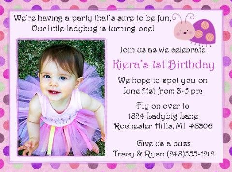 Ladybug pink dot first birthday invitation birthdays free find lots of creative invitation wordings for your babys first birthday party celebration at cardsshoppe stopboris Image collections