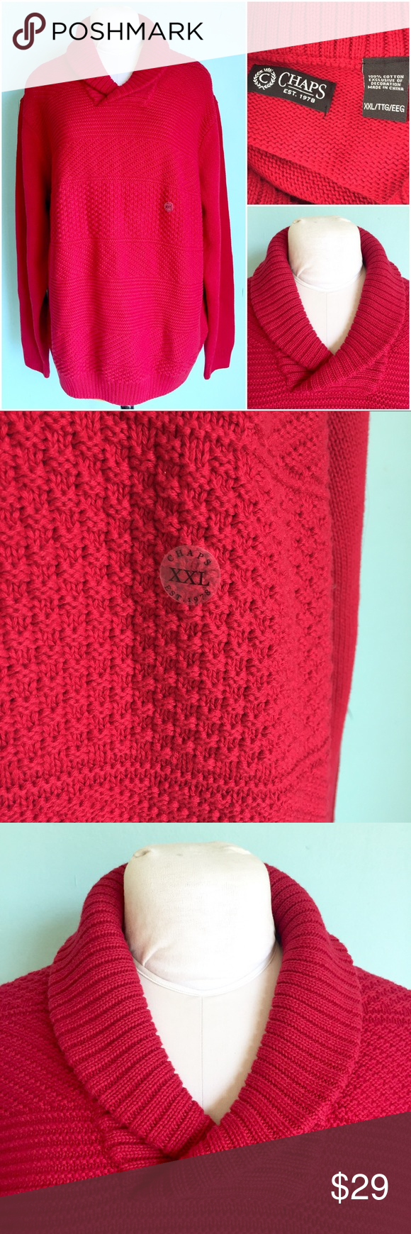 NWOT 100% Cotton Blood Red Cable Knit Sweater
