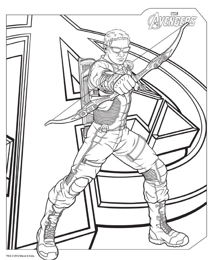 Download #Avengers coloring pages here! #Hawkeye | dibujos para ...