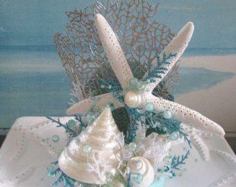 Starfish Clam Seashell Beach Wedding Cake Topper Coastal