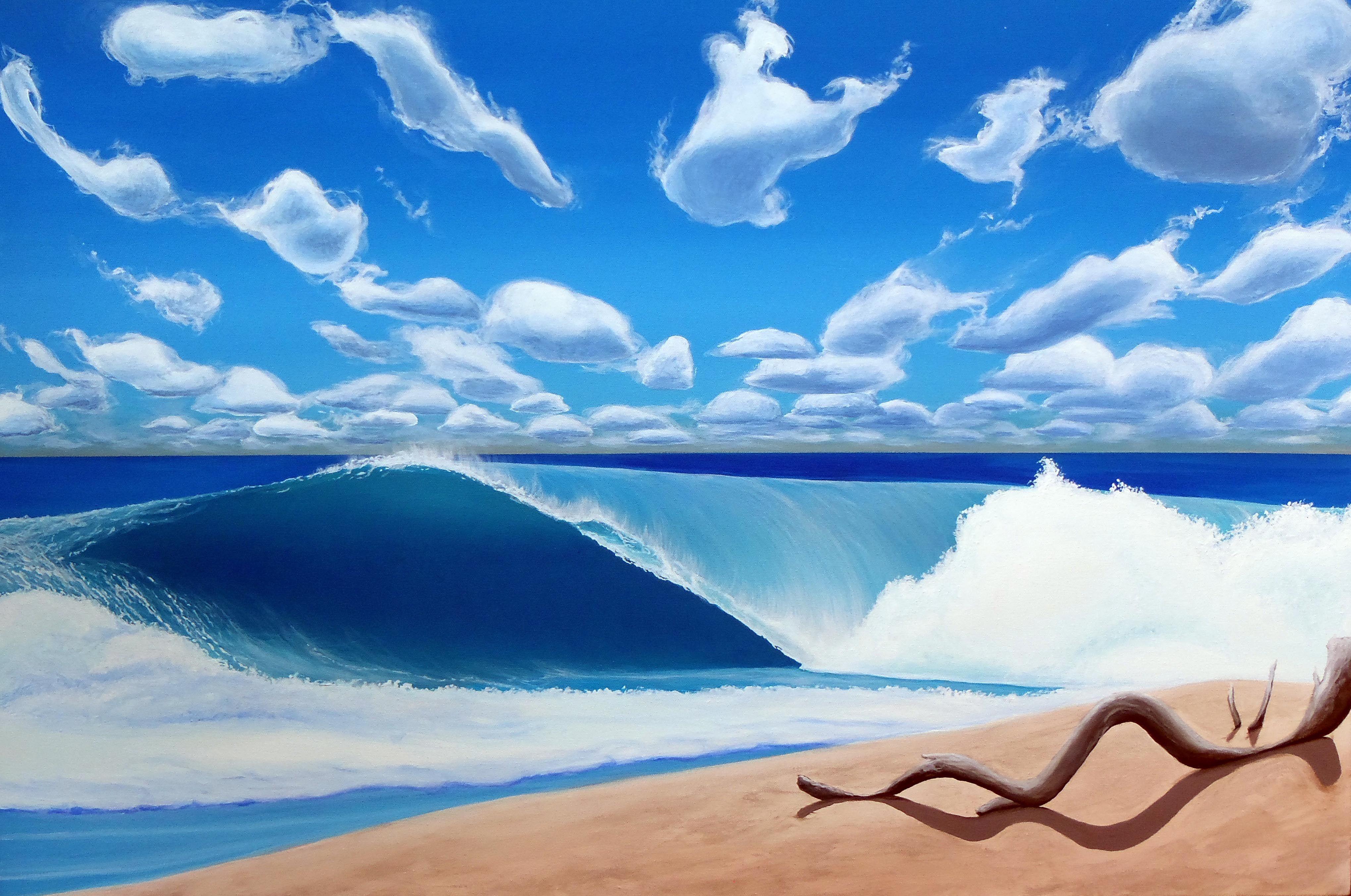 Quot Driftwood Ashore Quot Original Acrylic Wave Painting 24x36