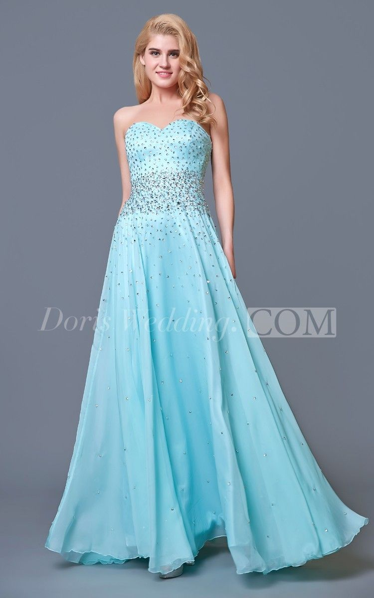 Glam Chic Beaded Sweetheart Layered Long Prom Dress, Blue Prom ...