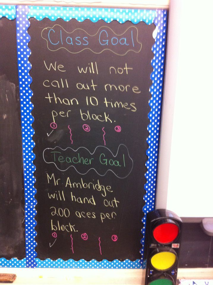Grade 5/6 (11-12) - Weekly class and teacher goal to show we all need to improve on something.