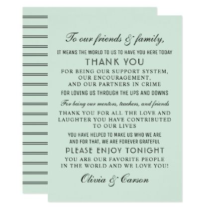 Modern Mint And Black Script Wedding Guest Thank You Card Zazzle Com Thank You Messages Message Card Wedding Thank You Cards