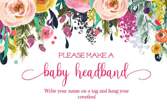 Headband Sign. Printable. Floral Baby Shower by PaisleyMayDesigns