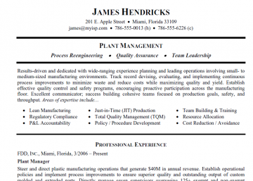 plant manager resume templates sample resume for a manufacturing plant manager