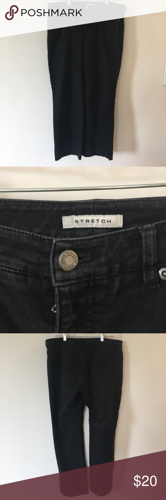 Jones New York black jean Black jeans. Inseam measurement is about 26 inches. Great condition. Size 14. Stretch material. Jones New York Jeans