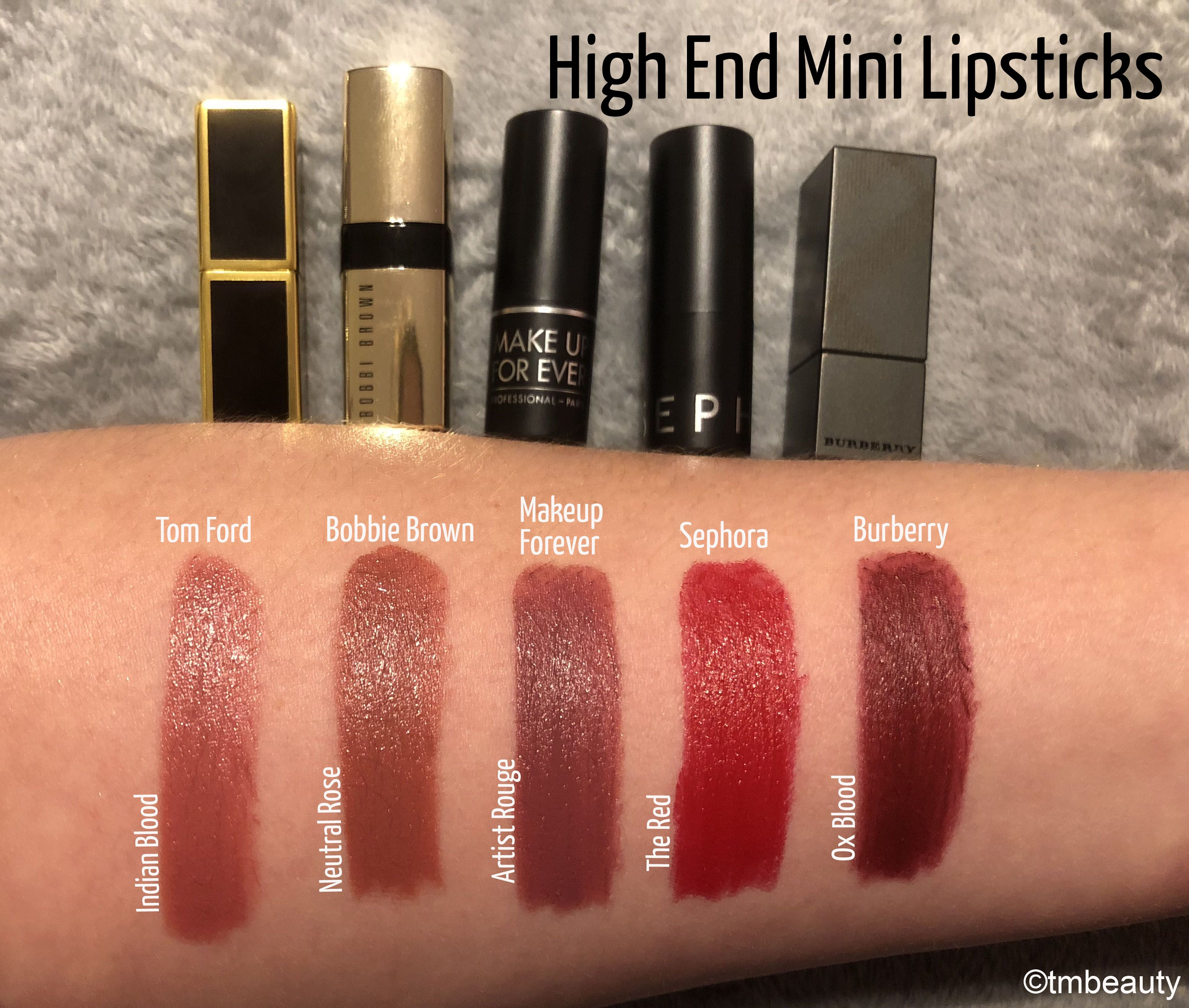 High End Mini Lipstick Swatches Makeup swatches