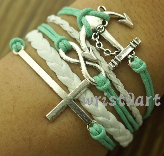 """Infinity bracelet - anchor bracelet,""""where there's a will there's a way""""antique silver,mint bridesmaid gift bracelet"""