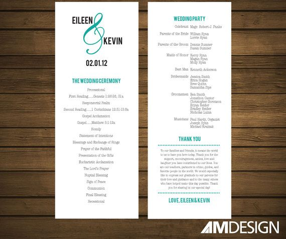 Printable Wedding Program Simple Modern On Etsy 28 00