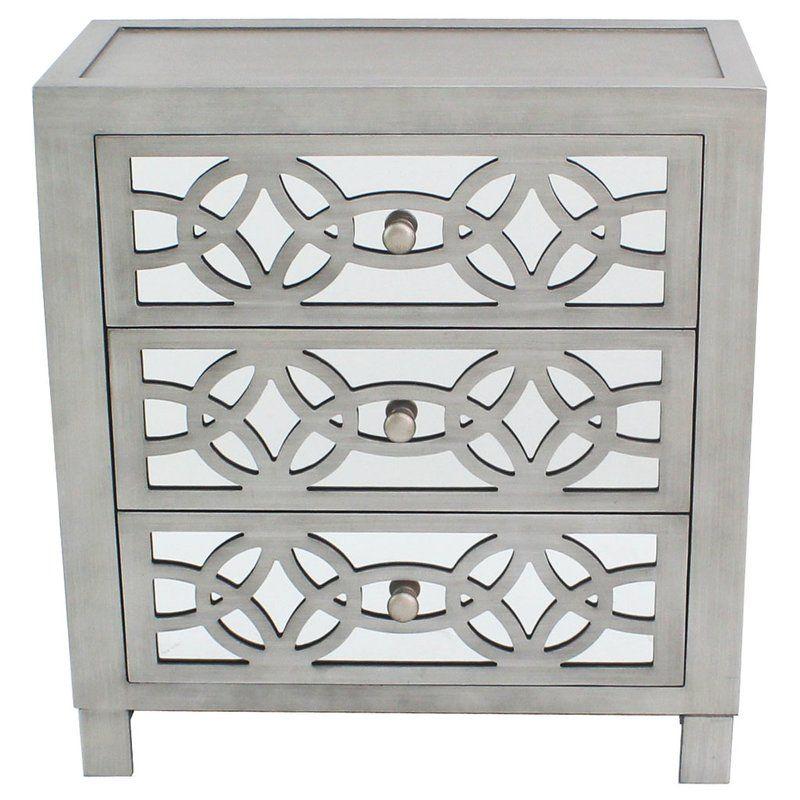 Karratha 3 Drawer Accent Chest Reviews Birch Lane Mirrored Chest Mirrored Nightstand Silver Cabinets