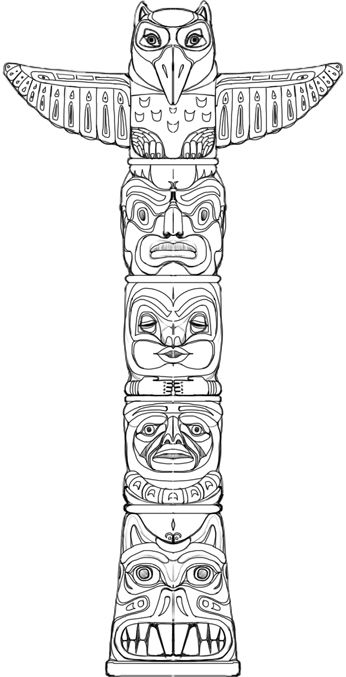 Icolor Indian Lore Totem Pole Art Totem Tattoo Native American Totem Poles
