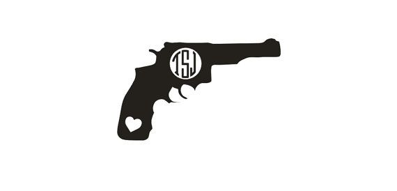 Custom Pistol Heart Monogram Decal Country By Xtremegraphicsoh Monogram Decal Car Decals Car Stickers