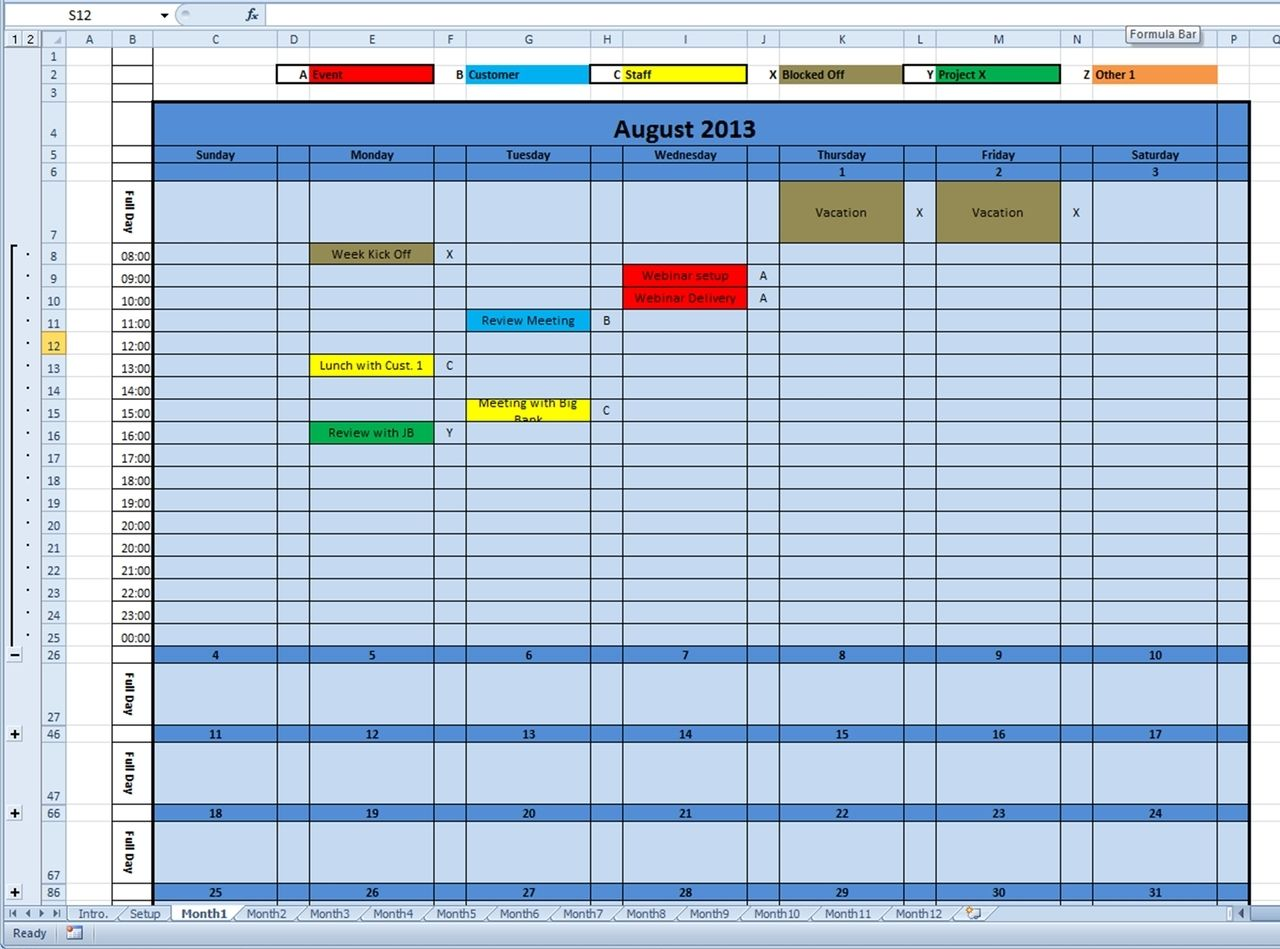 Calendar Monthly Printable And Future Years Excel Template