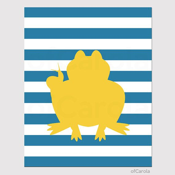 Frog Snail Print Personalized Nursery Wall Art - Stripes Pattern ...