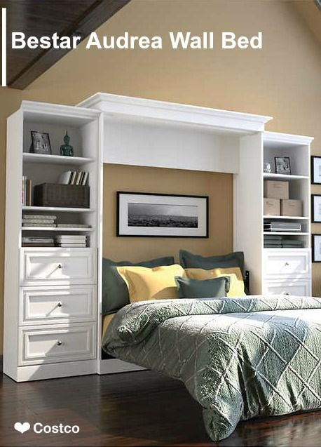 Bestar Audrea Queen Wall Bed In White With Two 25 Storage Units