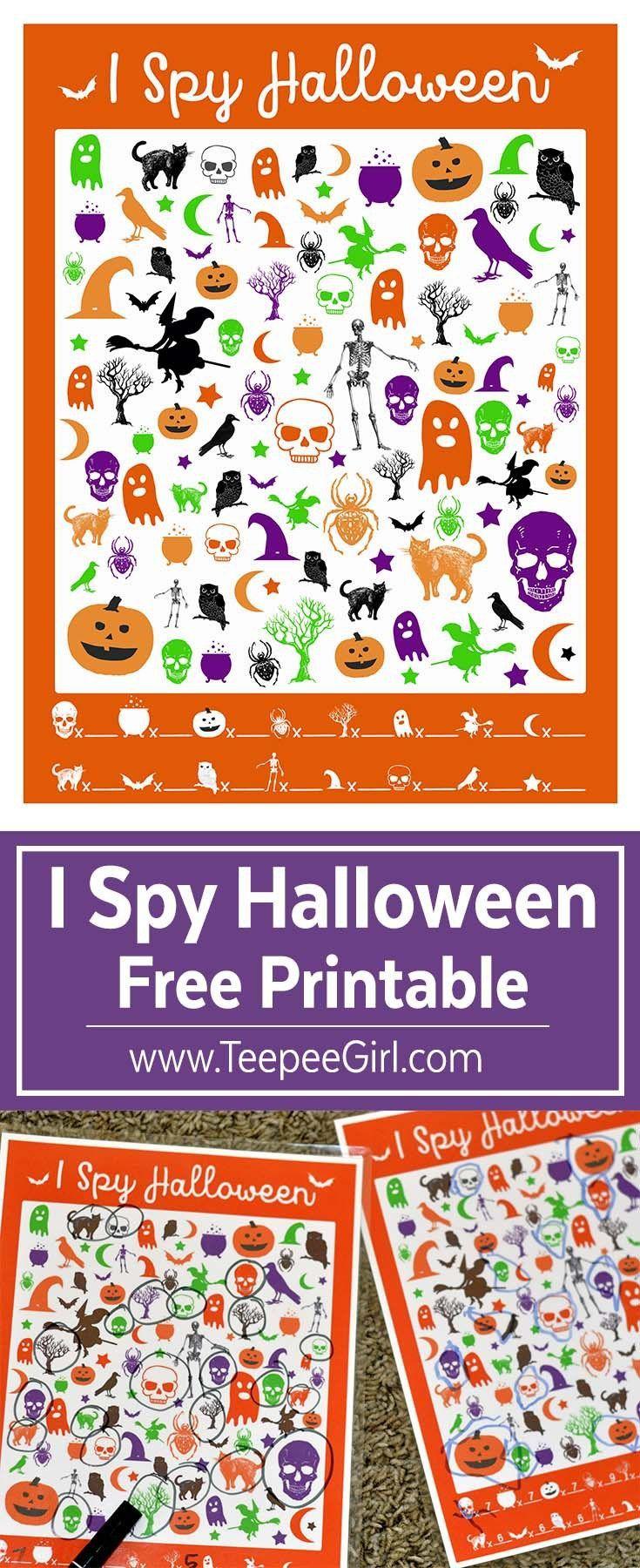 Free I Spy Halloween Printable Game Halloween class