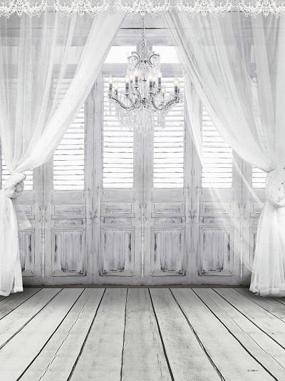Kate Windows With White Sheer Curtains Chandelier Floor Backdrop