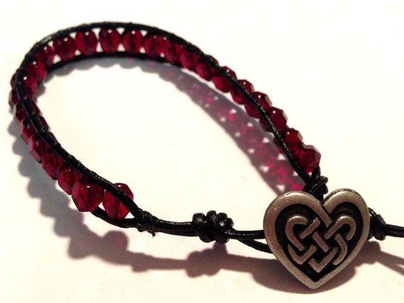 Garnet czech beads with celtic heart button by ValiantMosaic, $20.00