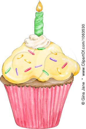 Clipart Birthday Cupcake And Candle Royalty Free Hand Painted
