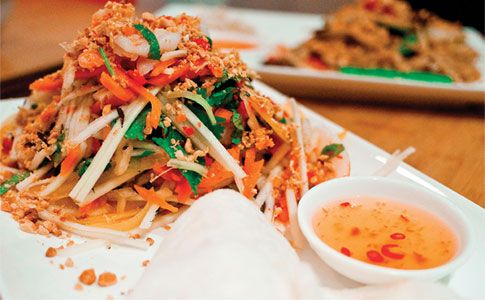 Vietnamese prawn papaya salad.  Vietnamese is fast becoming one of the UK's favourite cuisines thanks to its fresh flavours and healthy, low fat ingredients.    Here we asked Juliette and Stephen Wall, the entrepreneurial couple behind Pho, London's original Vietnamese street food restaurant (www.phocafe.co.uk), to share some of their most popular recipes for you to cook at home.