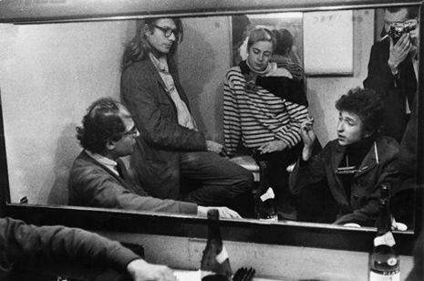 Allen Ginsberg, Peter Orlovsky, Barbara Rubin, Bob Dylan, and Daniel Kramer backstage at McCarter Theater, in Princeton, New Jersey, September, 1964. ©