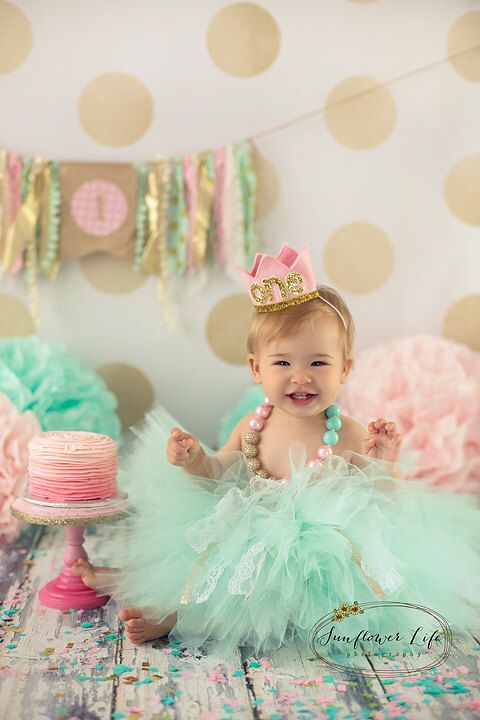 Cake Smash Outfit Girls First Birthday Girl Props Tutu Chunky Necklace
